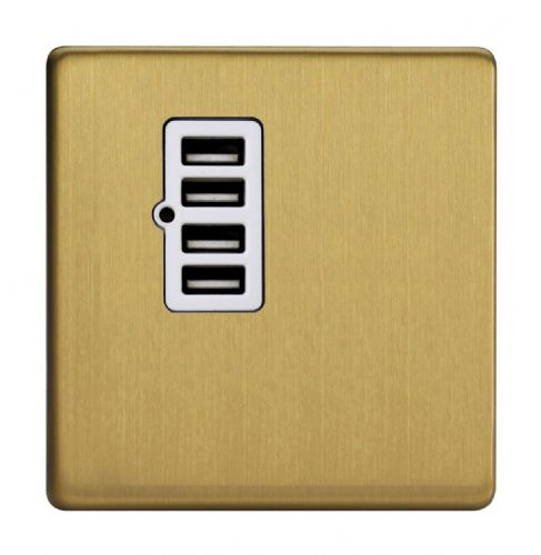 Varilight XDBU4WS Screwless Brushed Brass 4 Gang 5V DC 4800mA USB Charging Port (Single Plate)